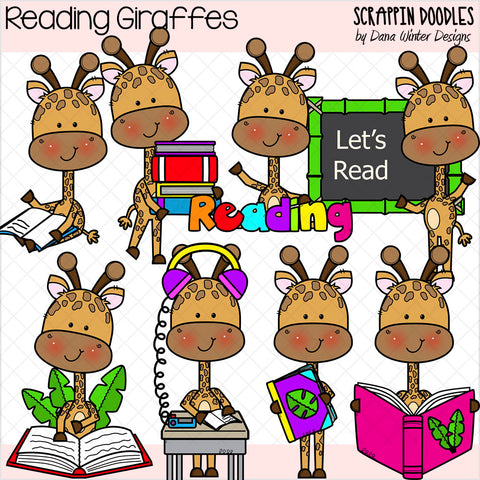 Reading Giraffes Clip Art