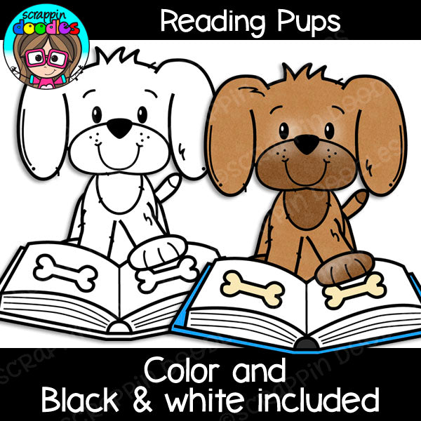 Reading Pups Clipart