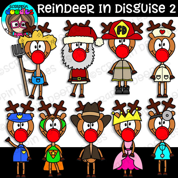 Reindeer In Disguise 2 Clipart