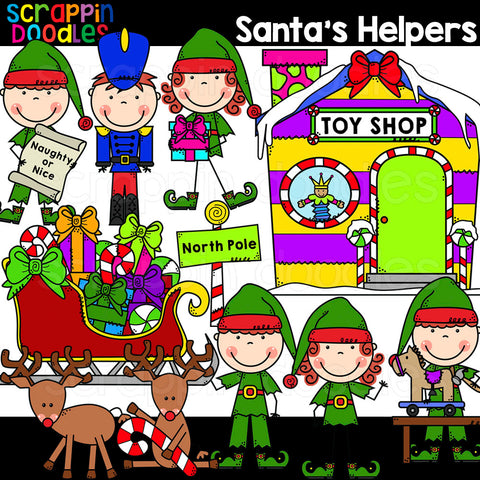 Santa's Helpers Clip Art Elf Workshop