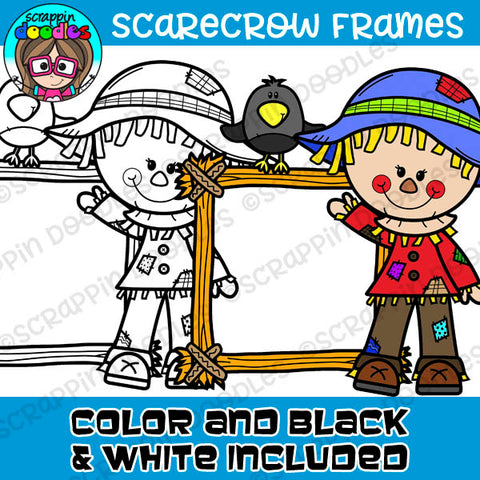 Scarecrow Hay Frames Clipart