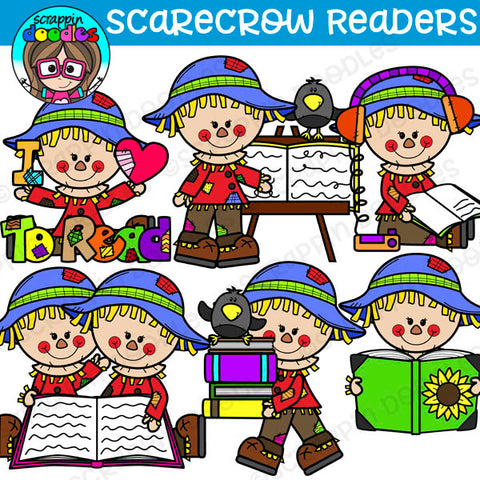 Scarecrow Readers Clipart