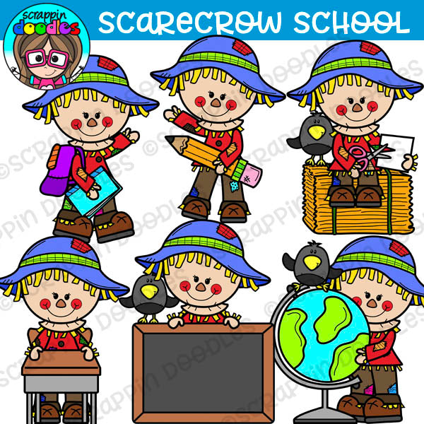 Scarecrow School Days Clipart
