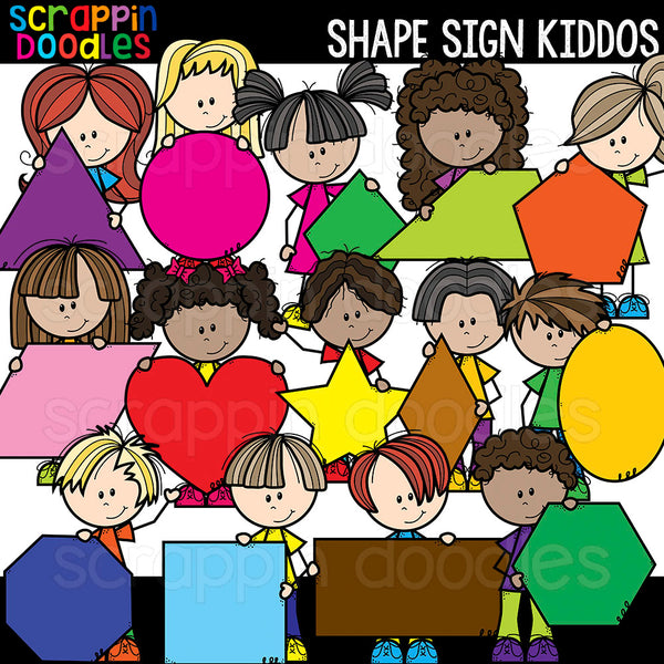 Shape Sign Kiddos Clip Art Kids Holding Shapes