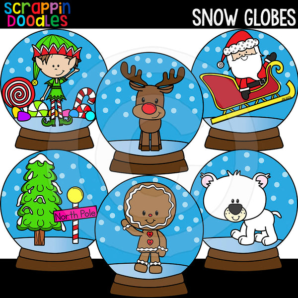 Snow Globes Clip Art Commercial Use Christmas