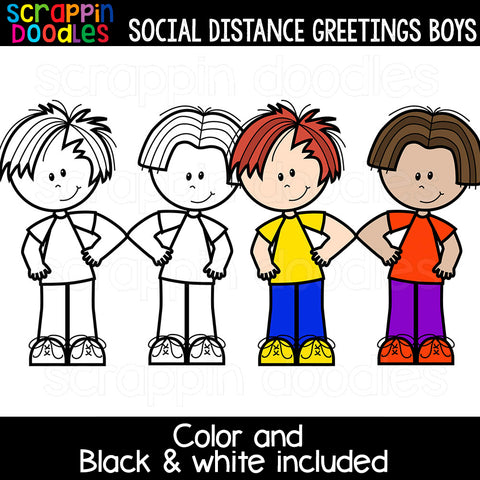 Social Distance Greetings Boys Clipart