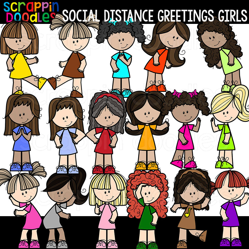 Social Distance Greetings Girls Clipart