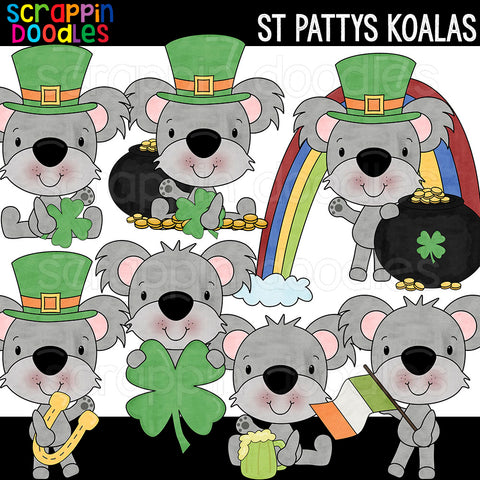 St Pattys Koalas Clip Art St Patricks Day Koala Commercial Use