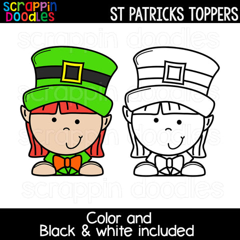 St Patricks Day Toppers Clip Art Commercial Use Borders Dividers Leprechaun