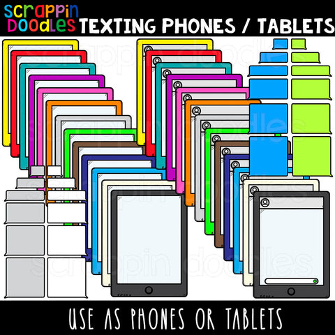 Texting Phones / Tablets Clip Art