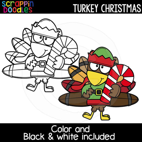 Turkey Christmas Clip Art Cute Holiday Turkey Graphics