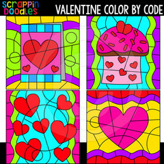 Valentine Color By Code Templates Commercial Use