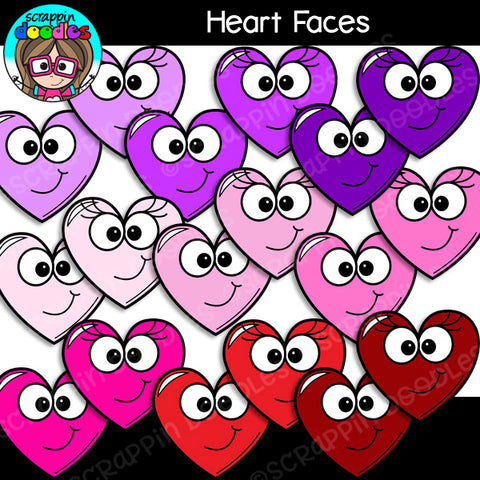 Valentine Heart Faces Clip Art