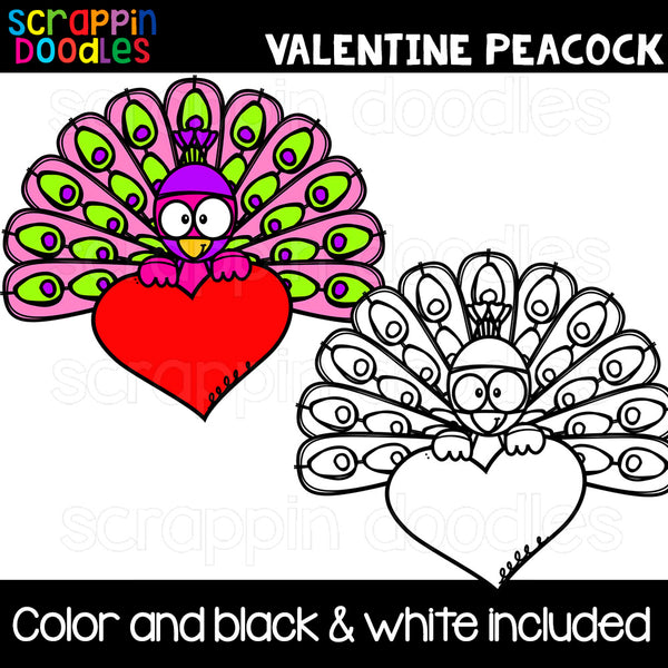 Valentine Peacocks Clip Art