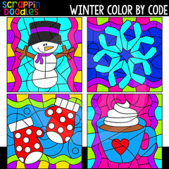 Winter Color By Code Templates