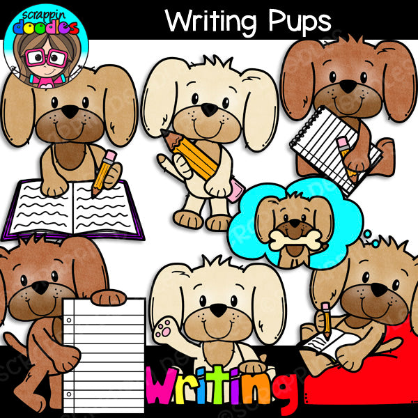 Writing Pups Clipart