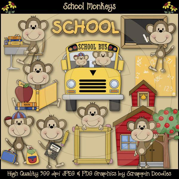 School Monkeys Clip Art Download