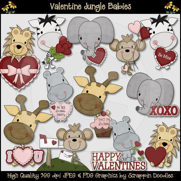Valentine Jungle Babies Clip Art Download