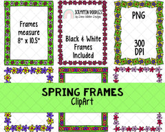 Spring ClipArt - Spring BUNDLE - Garden ClipArt - Spring Flowers - Hand Drawn Clipart - Weather ClipArt - Tulips - Cute Bug ClipArt - Frames