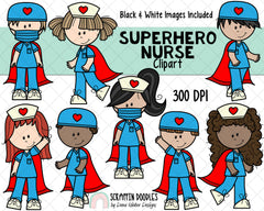 Nurse ClipArt - Superhero Nurse ClipArt - Paramedic ClipArt - Hospital - Doctor - Nurses - Nurse Gift Ideas
