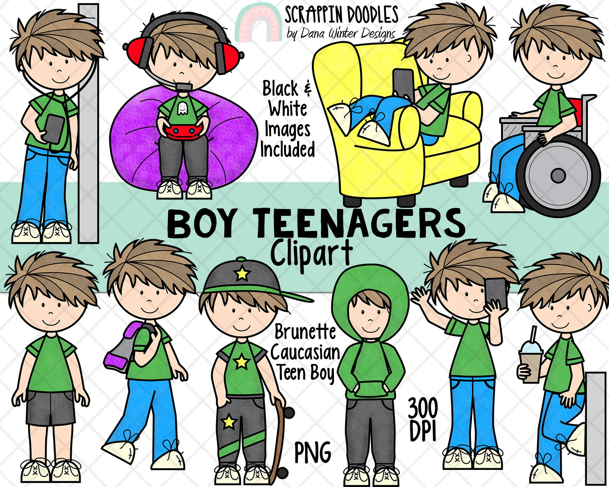 Teenager ClipArt - Teenage Boys - Student Clipart - Caucasian Brunette Hair