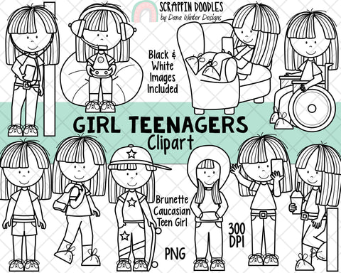 Teenager ClipArt - Teenage Girls - Student Clipart - Caucasian Brunette Hair