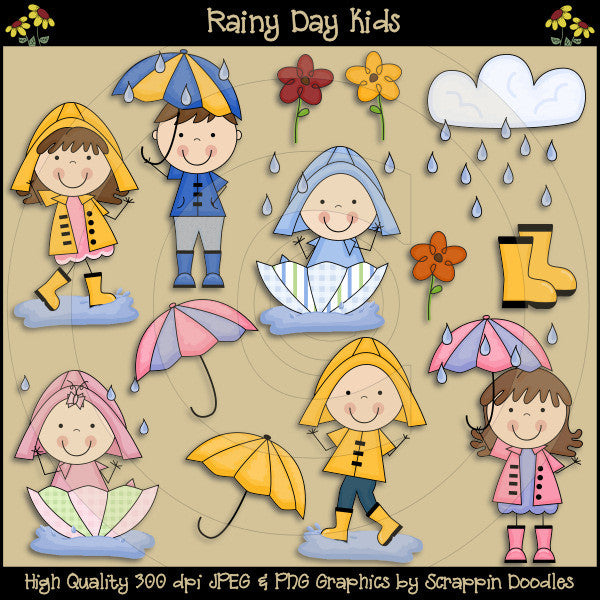 Rainy Day Kids Clip Art Download