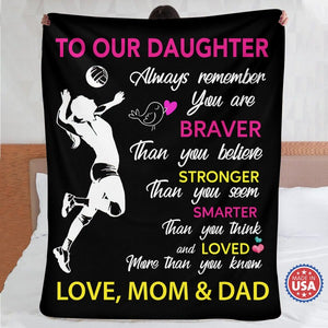 To Our Daughter - Volleyball Fleece Blanket