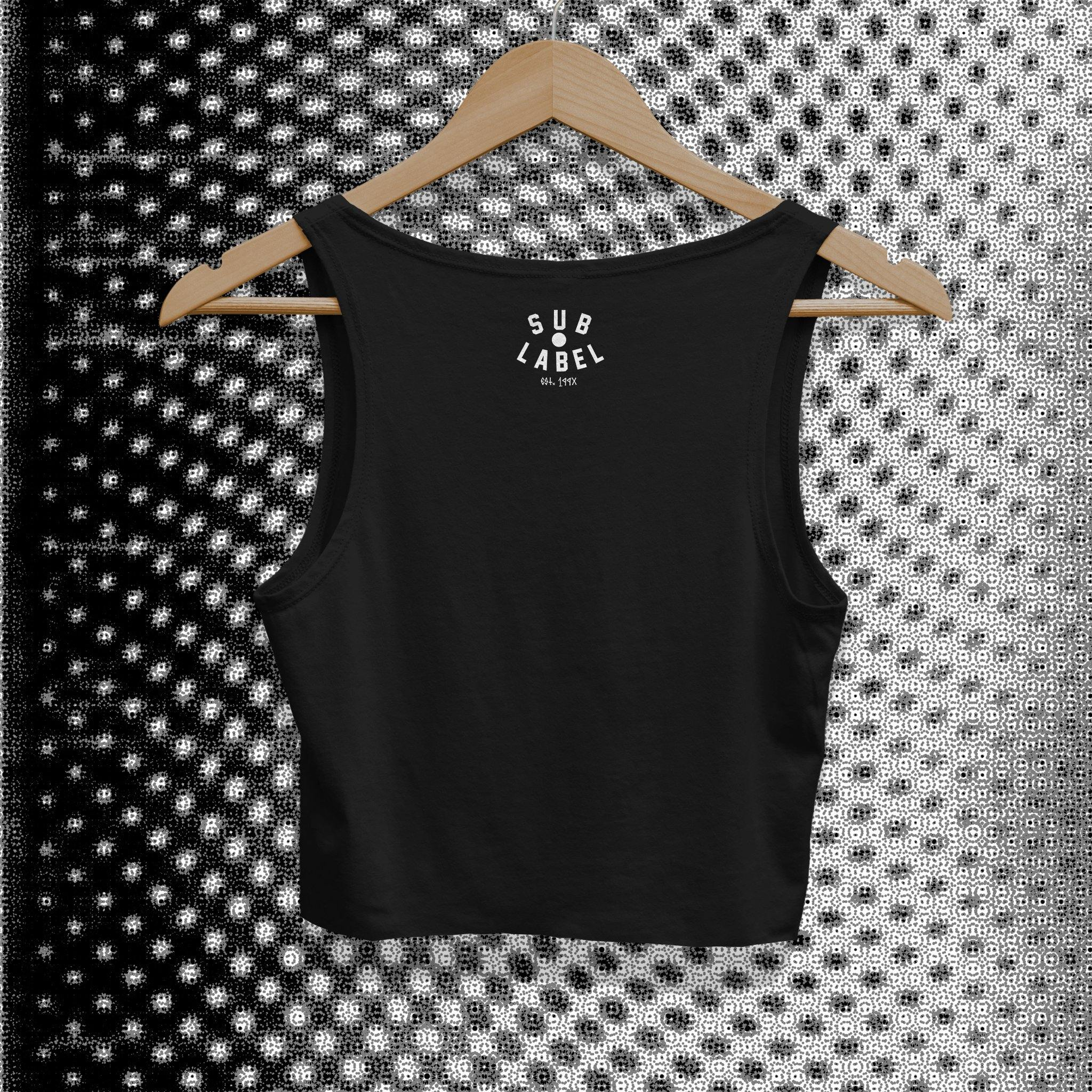 sublabel_Toronto_techno_rave_club_edm_crop_tank_cropped_raw_edge_womens_female_black_back