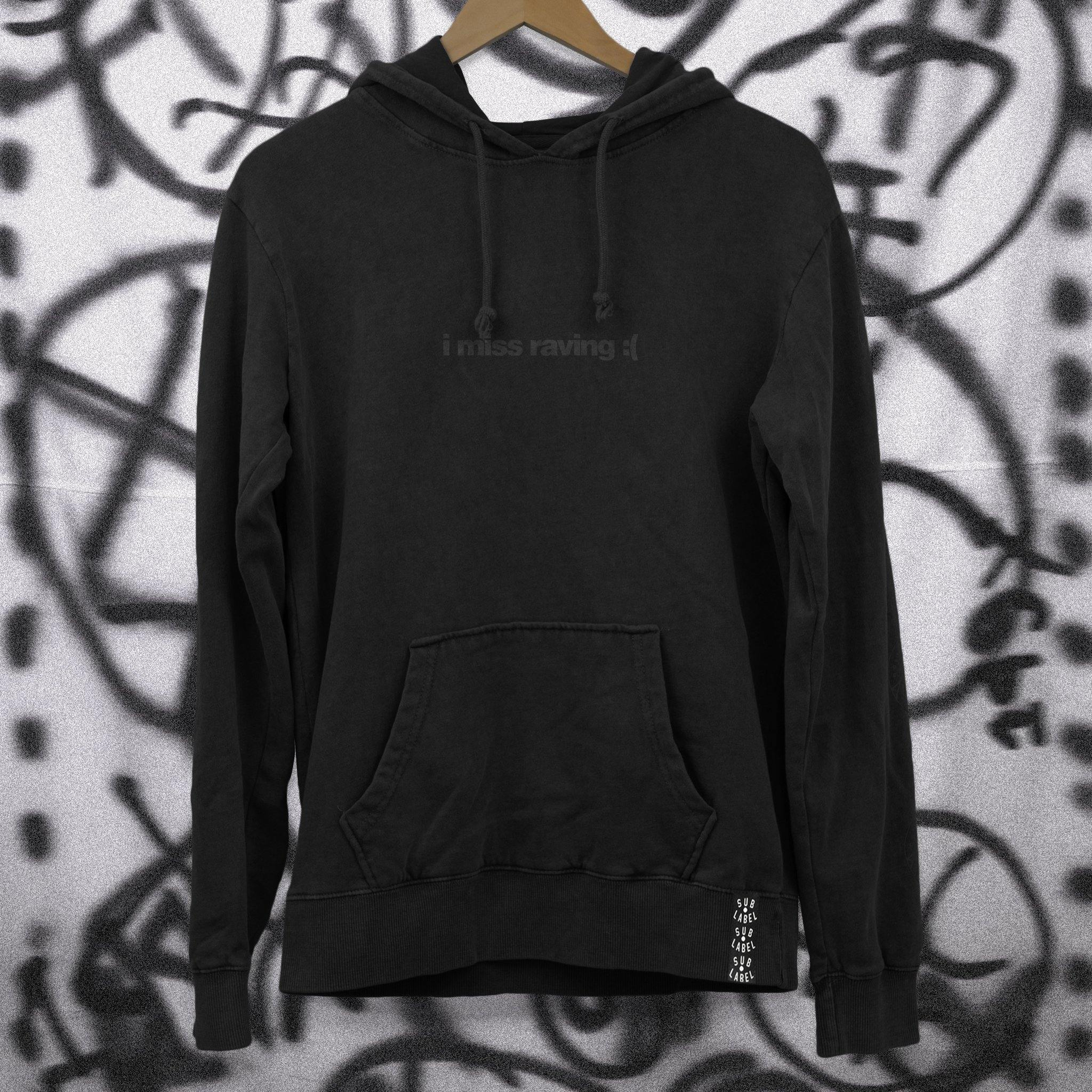 i miss raving • Unisex Black on Black Hoodie - sub•label