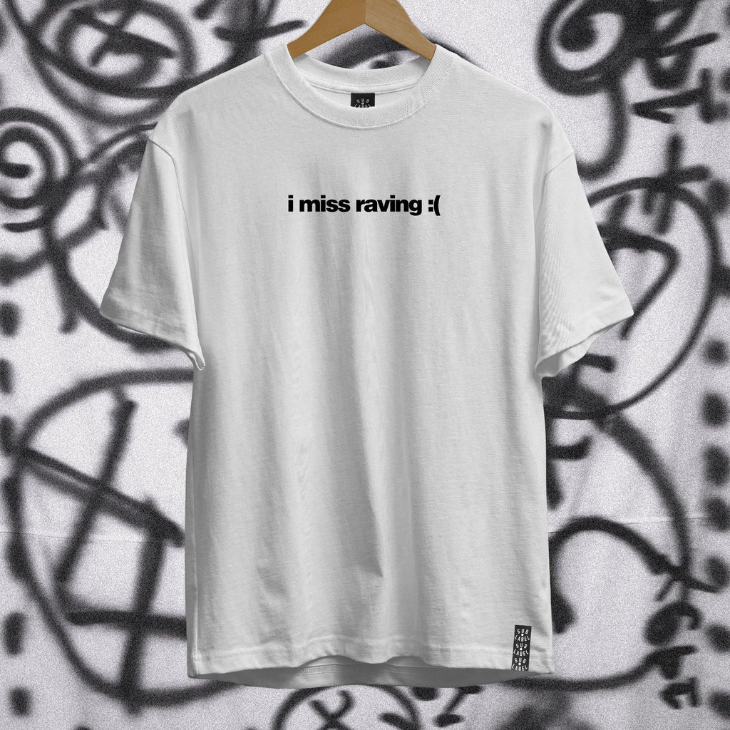 i miss raving • Unisex Black on White Tshirt - sub•label