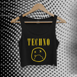 sublabel_techvana_smiley_techno_rave_club_edm_crop_tank_cropped_raw_edge_womens_female_black