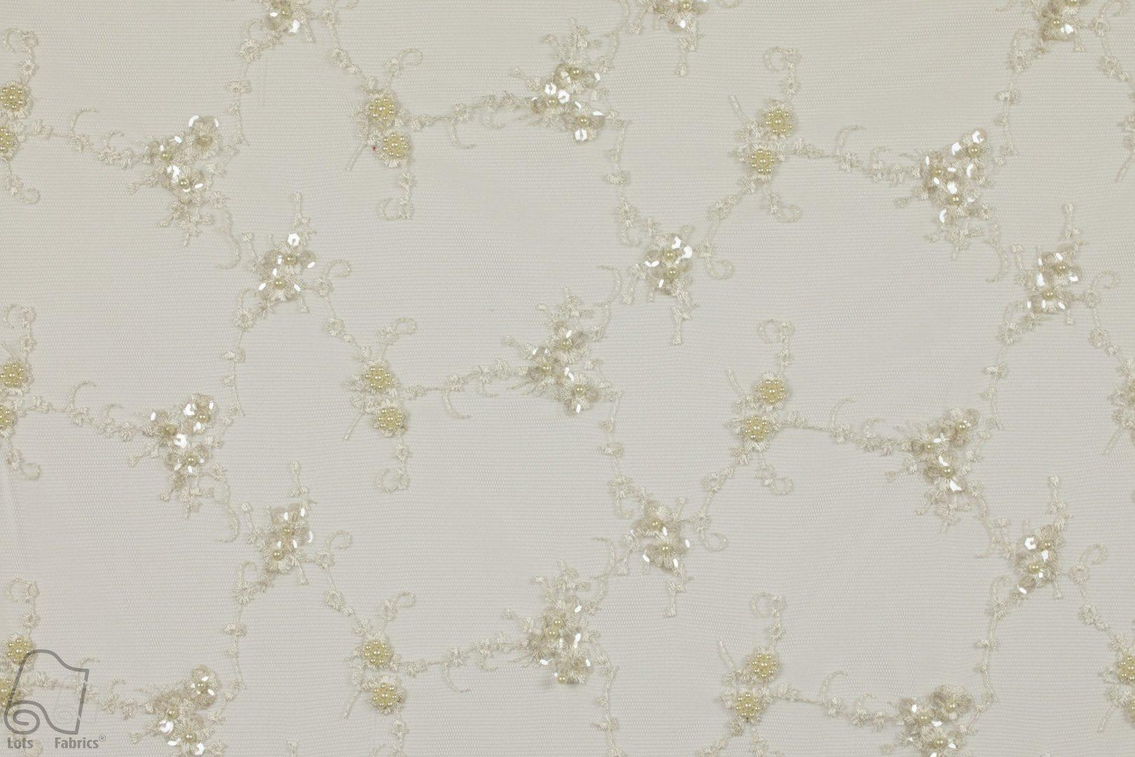 Beaded Sequin Lace Small Floral Tiny Flowers Fabric By The