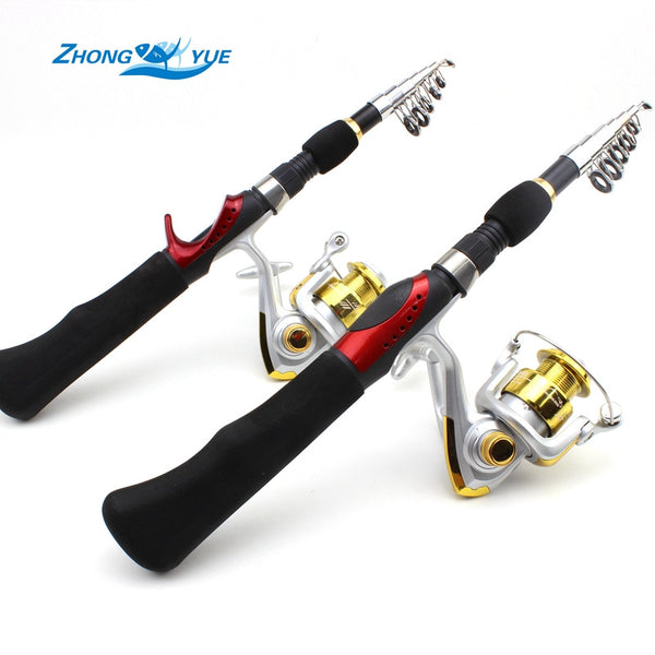 1.65M Fishing Rod Portable Foldable Travel Spinning Fishing Rod Carbon with 1000 Series Sea Fishing Reel Rod Combo Fishing Set - Amariah's