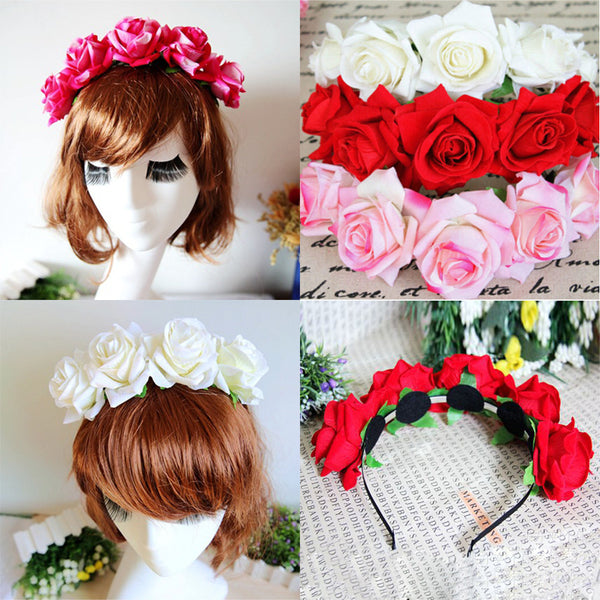 1*Rose Floral Flower Garland Crown Headband Hair Band Bridal Festival Holiday - Amariah's