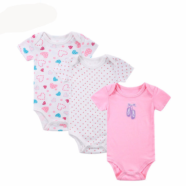 100% Cotton Baby Bodysuit 3pieces/lot Newborn Cotton Body Baby Short Sleeve Underwear Next Infant Boy Girl Pajamas Clothes - Amariah's