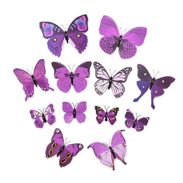 12PCS 3D Butterfly Wall Stickers for Home Living Room Kids Bed Room Decoration PVC Butterflies Sticker papel de parede - Amariah's