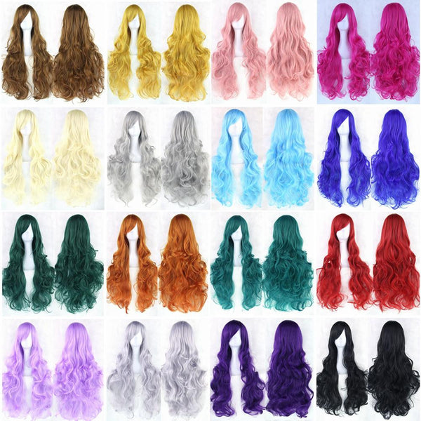 20 Colors Women Heat Resistant Pink Black Blue Red Yellow White Blonde Purple Wavy Cosplay Wigs 80cm - Amariah's