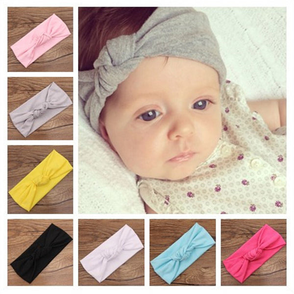 2016 Baby girls Tie Knot Headband Knitted Cotton Children Girls elastic hair bands Turban bows for girl Headbands Summer Style - Amariah's