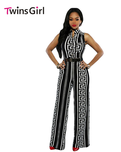 2016 New Fashion Plus Size Sexy Club Rompers Women Jumpsuit 2 Colors Print Gold Belted Jumpsuit LC64021 macacao feminino - Amariah's