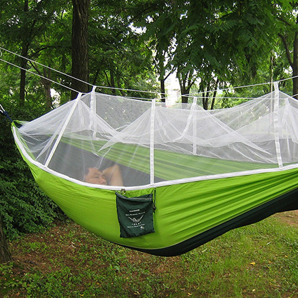 2016 Handy Hammock Single Person Portable Parachute Fabric Mosquito Net Hammock for Indoor Outdoor Camping - Amariah's