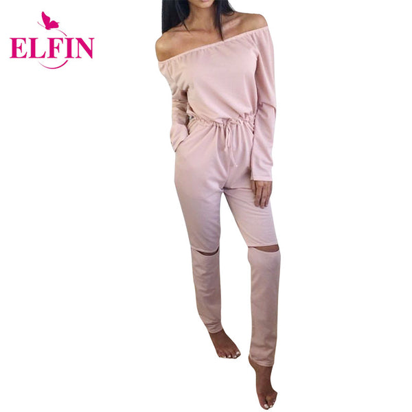 2017 Autumn Women Jumpsuit Cut Out Off Shoulder Fashion Long Sleeve Rip Knee All In One Ladies Casual Jumpsuits LJ4921R - Amariah's