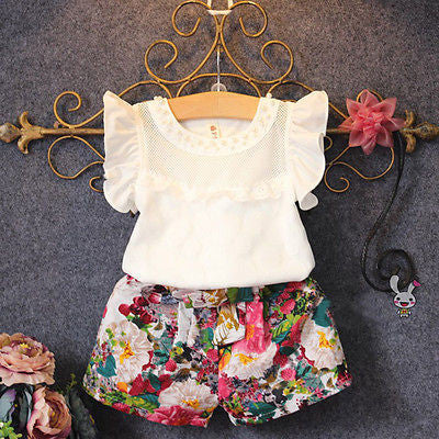 2017 New Fashion Cute Baby Girls Clothes Set Summer Petal Sleeve T-Shirt Top and Floral Shorts 2PCS Little Girls Outfit Set - Amariah's