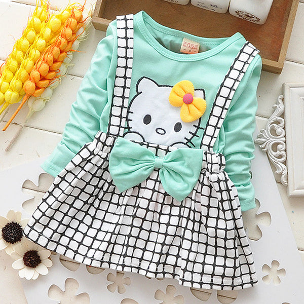 2017 Spring Summer KT Cat Baby Girl Dress Long Sleeve 1 Year Baby Birthday Dress Strap Plaid Infant Girl Dresses - Amariah's
