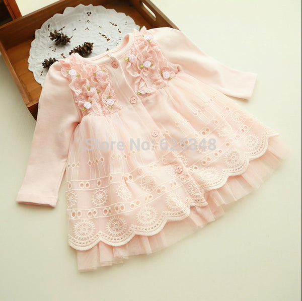 2017 Spring and autumn 0-2 yrs baby clothing floral lace lovely princess newborn baby tutu dress infant dresses vestido infantil - Amariah's
