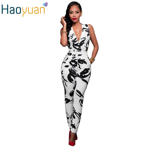 2017 Summer Rompers Women Jumpsuit Combinaison Femme Printed Bodysuit Sexy Slim Bandage White Sleeveless Bodycon Casual Overalls - Amariah's