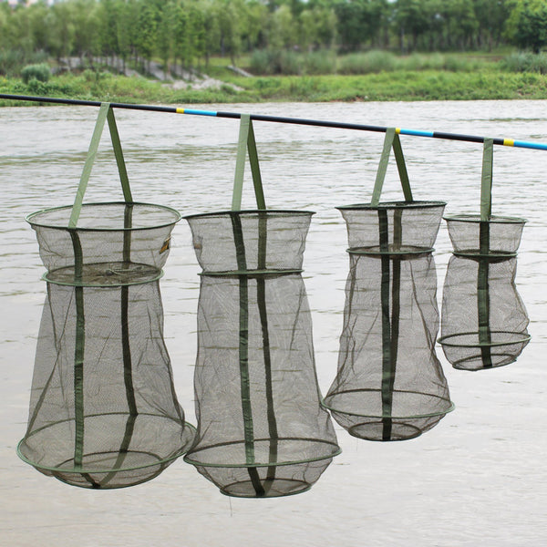 4Size Portable Fishing Net 3 Layer Round Folding Trap Metal Frame Network Casting Shrimp Mesh Cage Fish Net - Amariah's