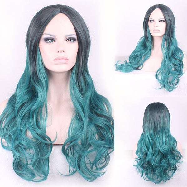 68cm Fashion Sexy Long Curly Wavy Cosplay Central Parting Women Wigs Hair Wig Girl Gift Black Green Ombre - Amariah's