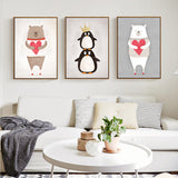 8 style Mordern Nordic Cute Animals Bear Hippo Penguins A4 Print Poster Kids Bedroom Wall Picture No Frame Painting Home Decor - Amariah's