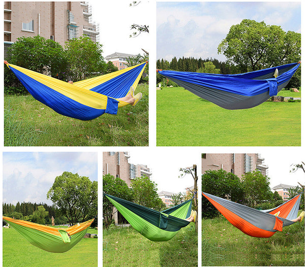 Assorted Color Hanging Sleeping Bed Parachute Nylon Fabric Outdoor Camping Hammocks Double Person Portable Hammock Swing Bed - Amariah's
